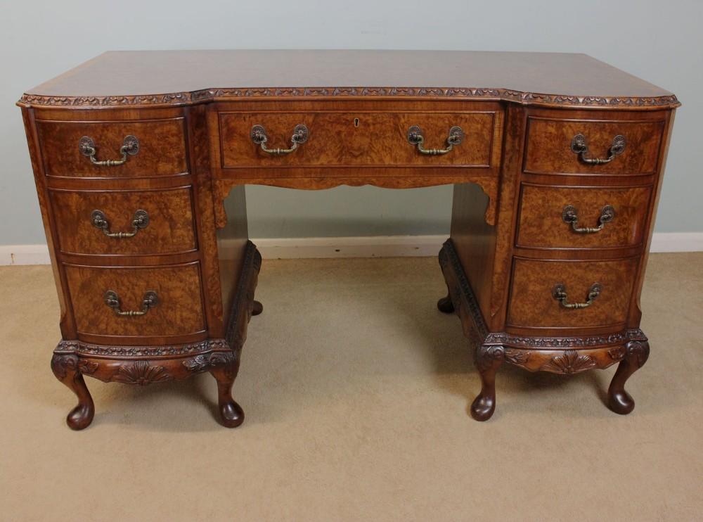 Antique burr walnut side table desk dressing table for Walnut dressing table