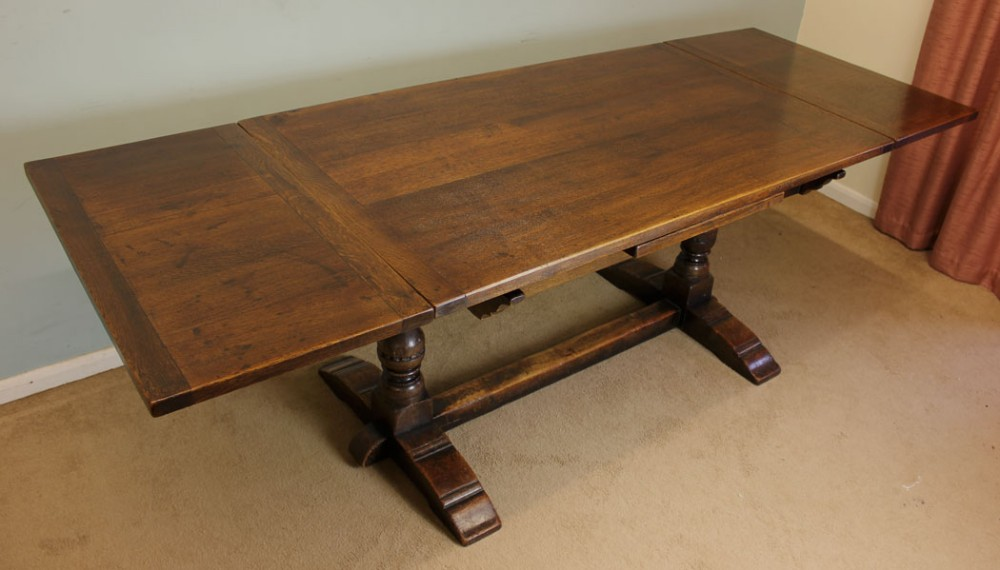 Pull Out Leaf Table Part - 18: Antique Oak Refectory Draw Leaf Farmhouse Dining Table