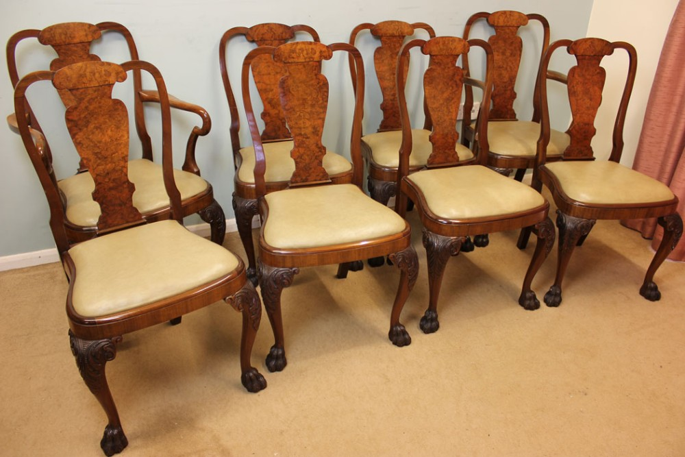 set eight antique walnut dining chairs - Set Eight Antique Walnut Dining Chairs 282195 Sellingantiques.co.uk