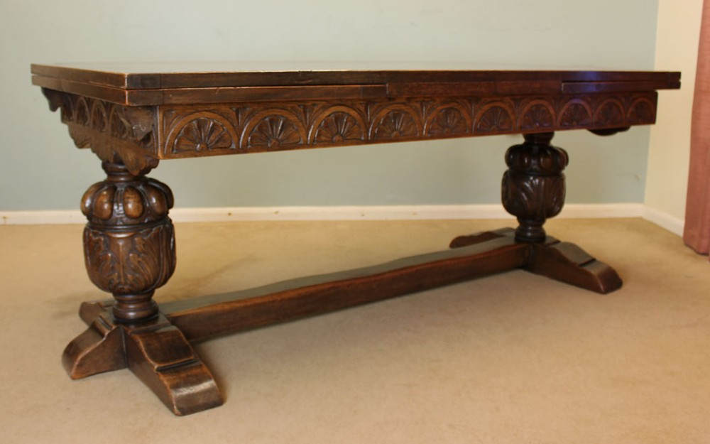 Antique Oak Refectory Draw Leaf Farmhouse Dining Table