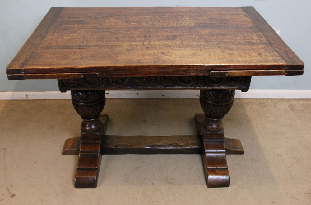 Antique Solid Oak Refectory Draw Leaf Farmhouse Dining Table