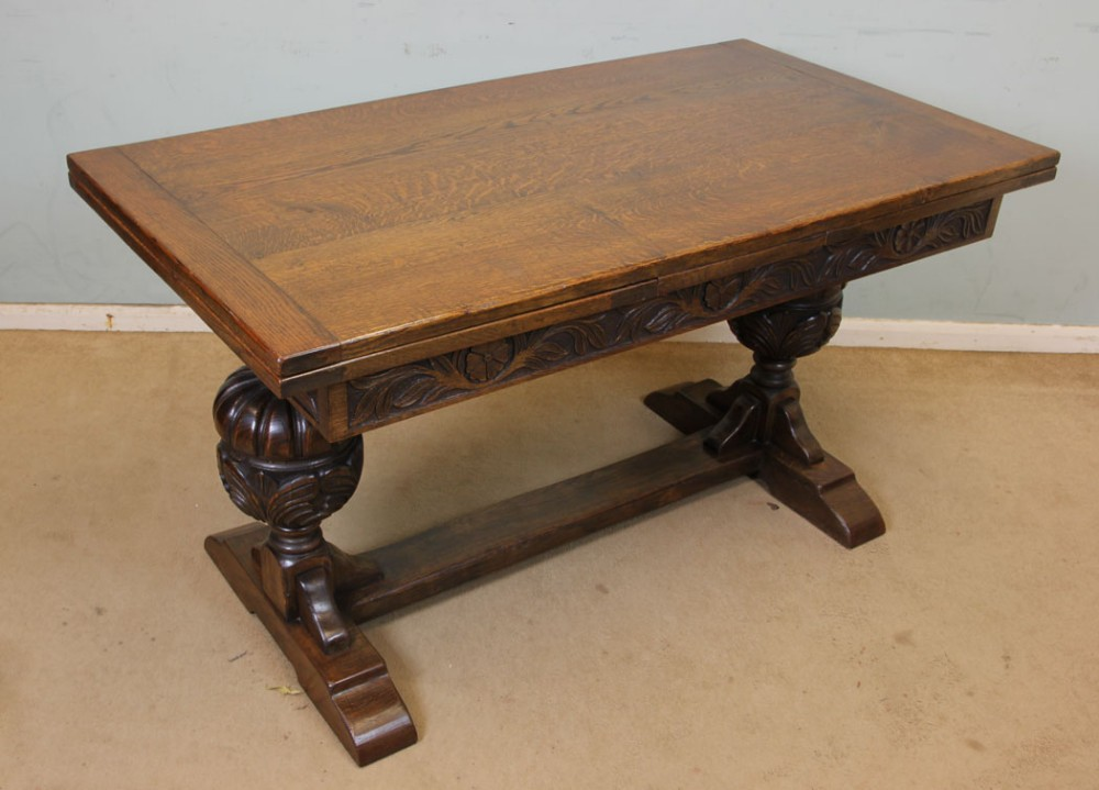 refectory oak draw leaf farmhouse extending dining table