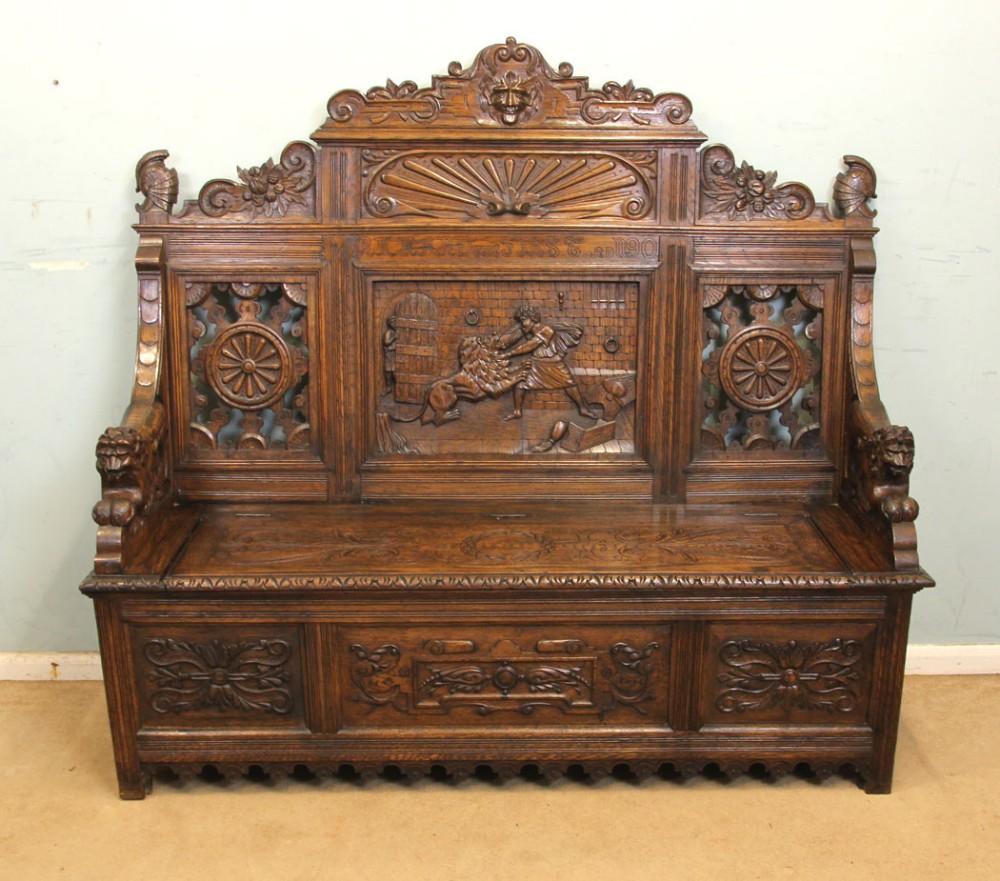 a impressive victorian carved oak settle monks bench hall seat