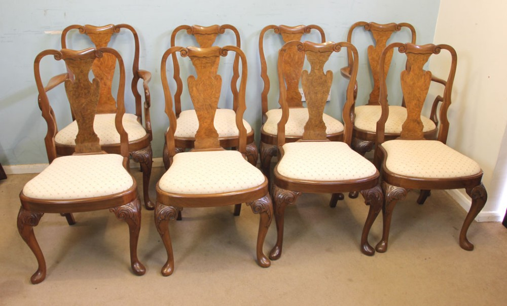 set of eight queen anne style walnut dining chairs