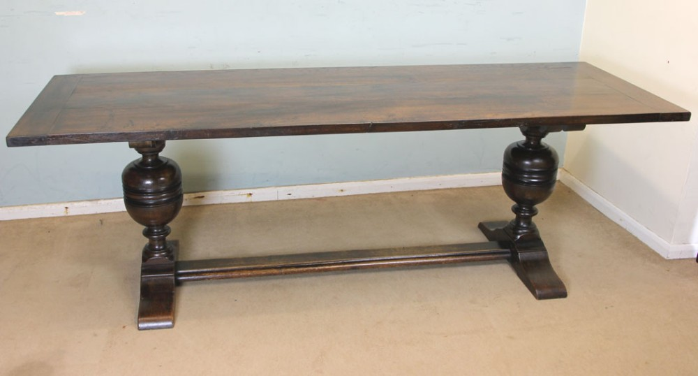 antique large solid oak refectory farmhouse dining table