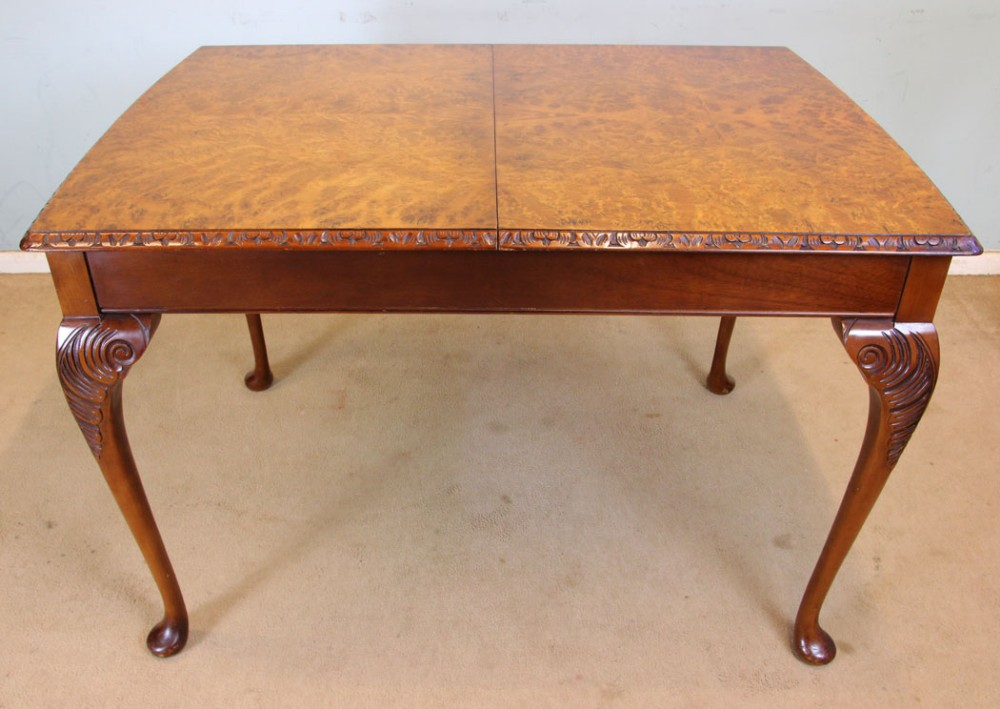 queen anne style burr walnut dining table