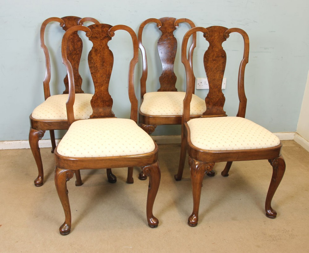 set of four antique queen anne style walnut dining chairs