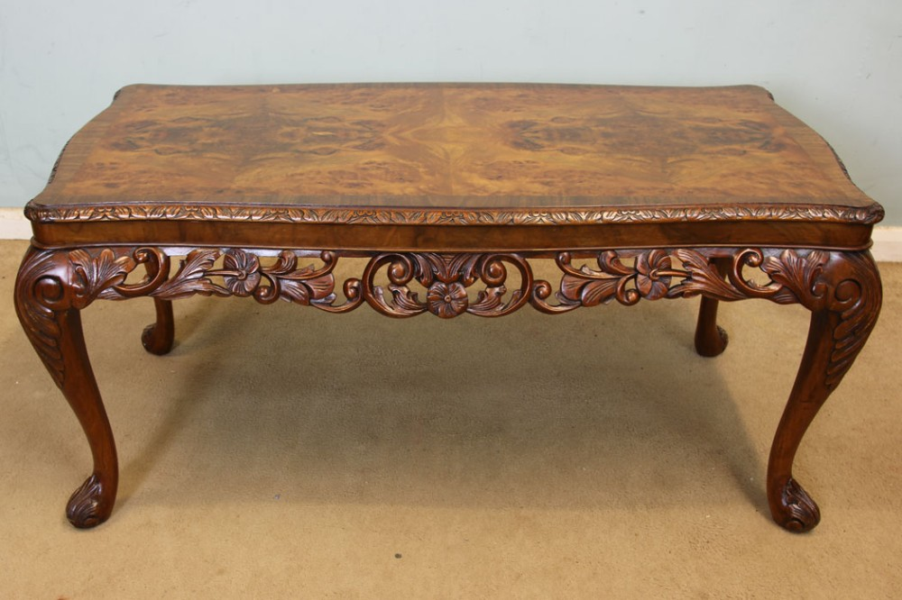 burr walnut coffee table