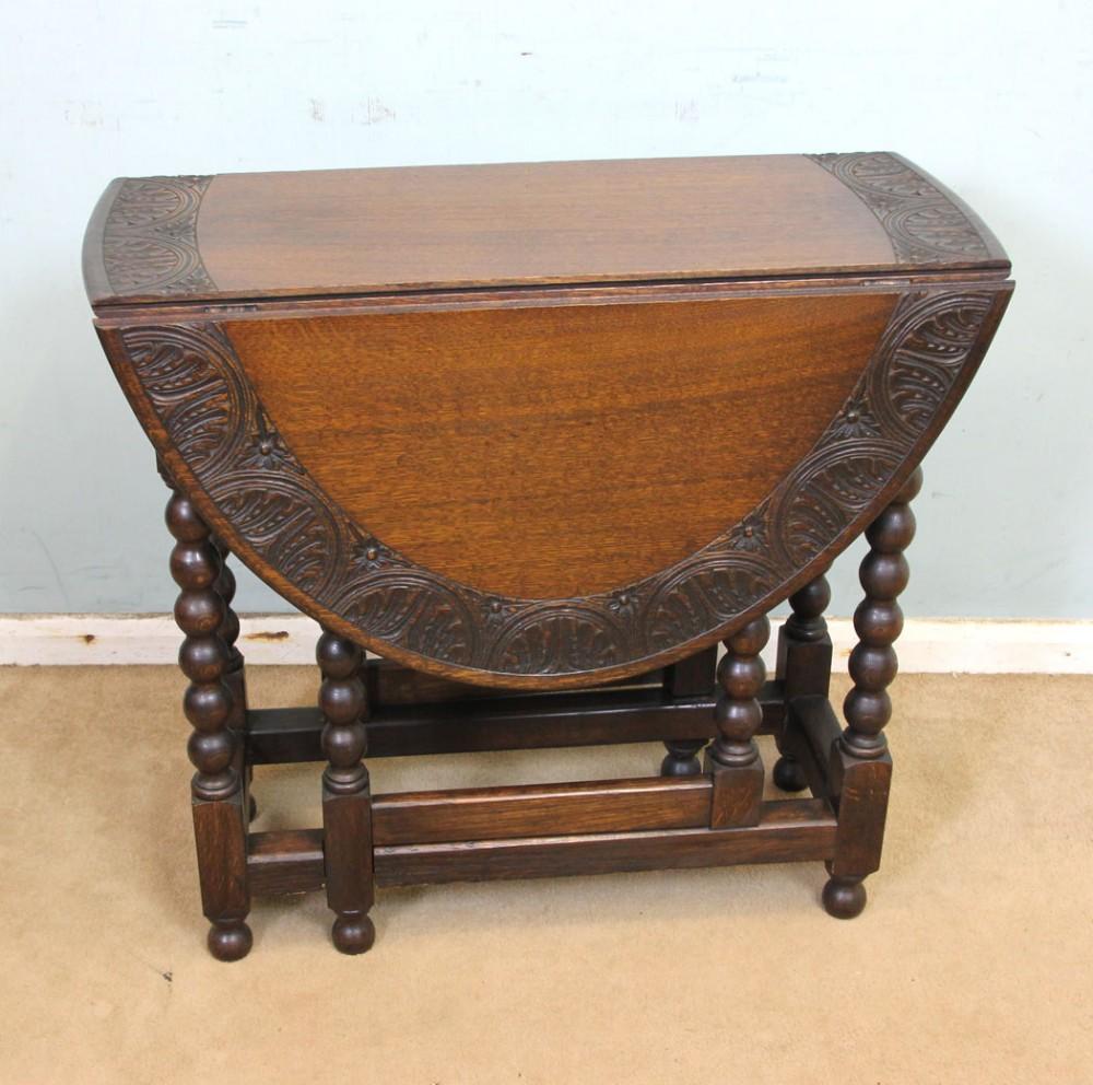 antique carved solid oak gateleg drop leaf occasional table