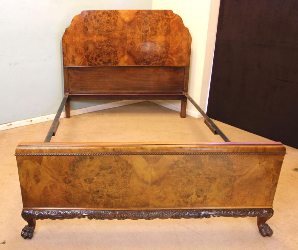 quality burr walnut double bed