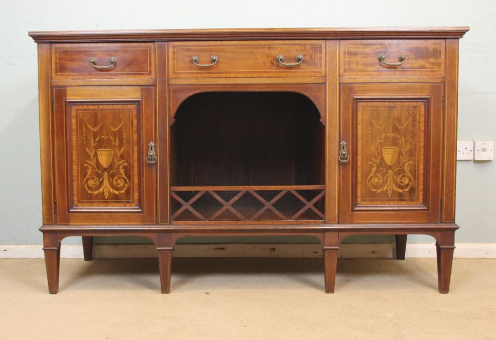 antique edwardian quality inlaid mahogany chiffonier sideboard