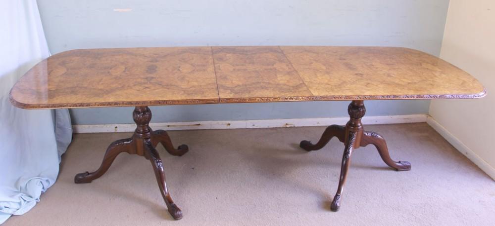 large burr walnut dining table