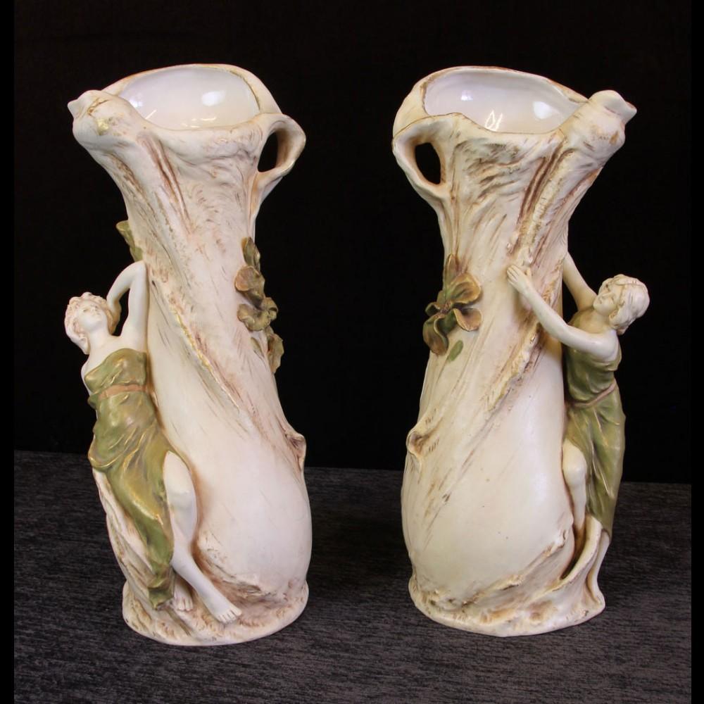 antique pair royal dux vases with figures