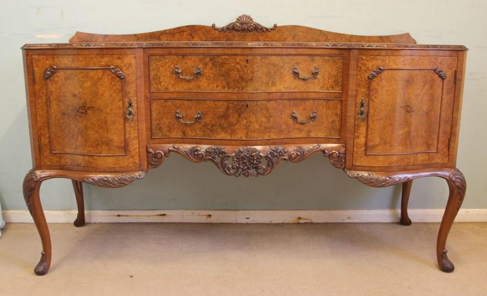 antique quality burr walnut serpentine front sideboard