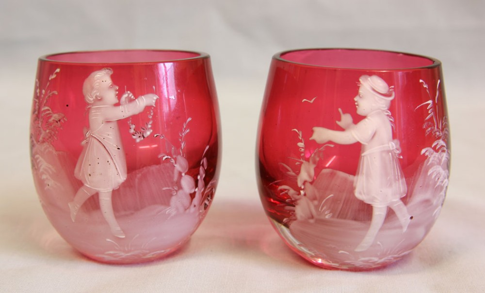 antique pair mary gregory cranberry glass salts