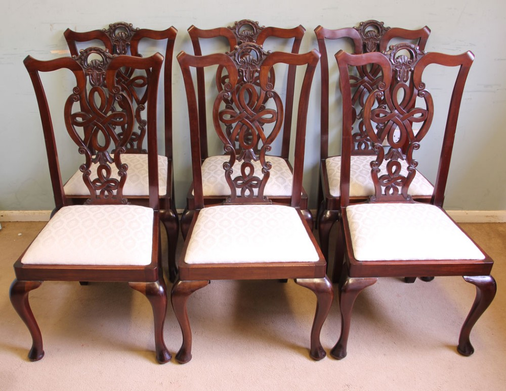 antique set six antique mahogany chippendale style dining chairs