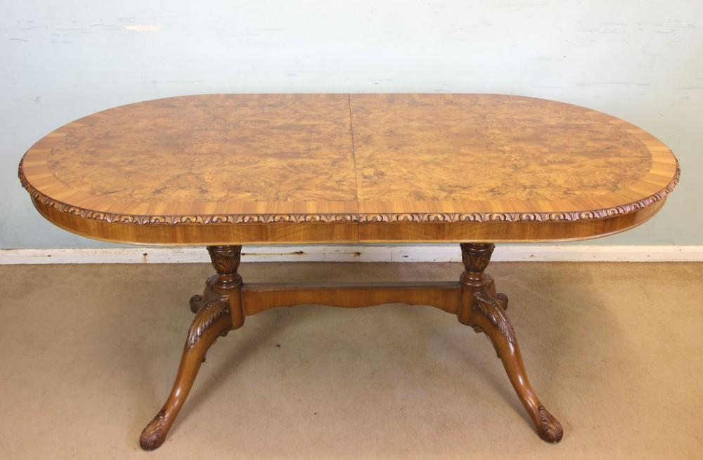 twin pedestal burr walnut extending dining table