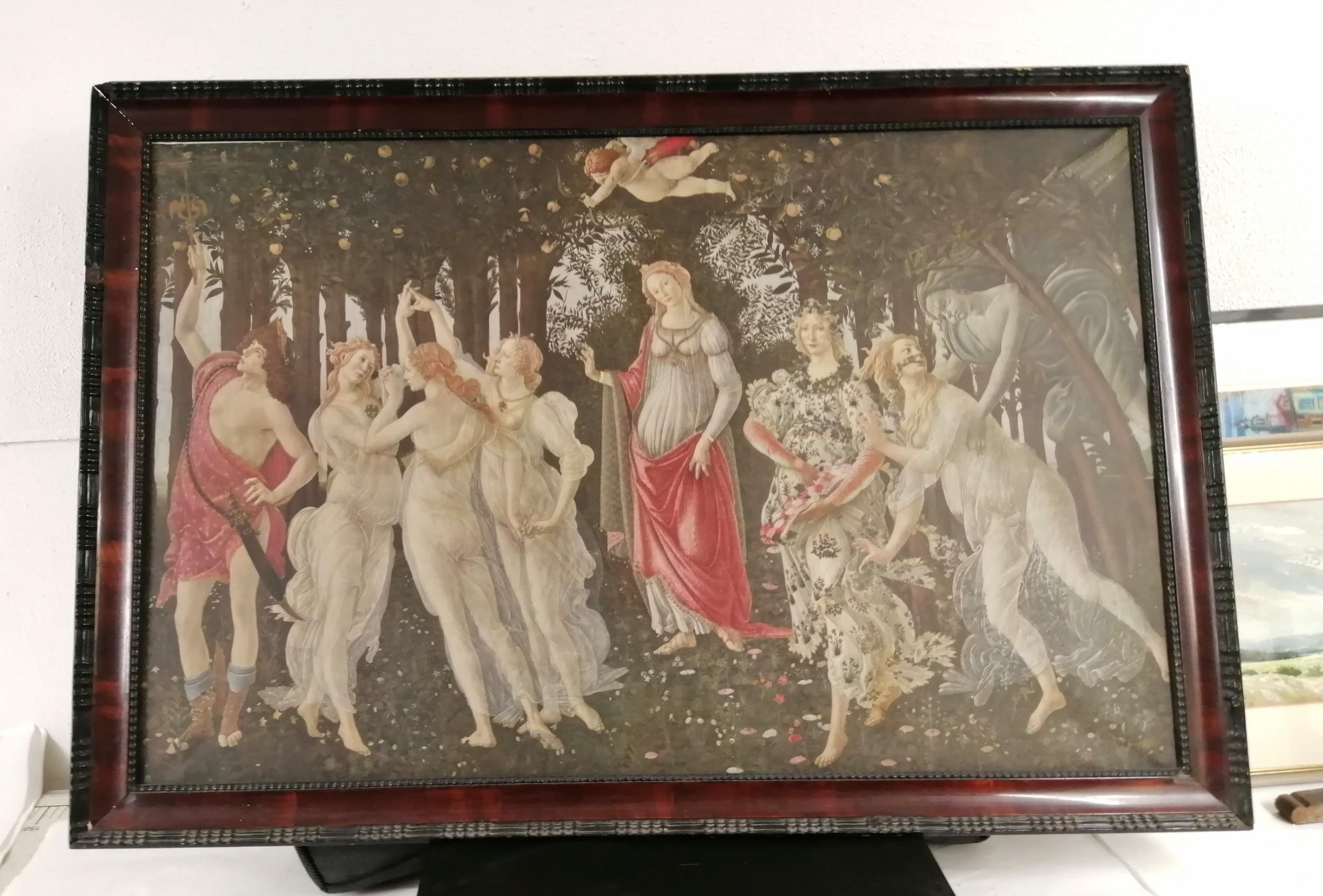 a large antique midici print of primavera