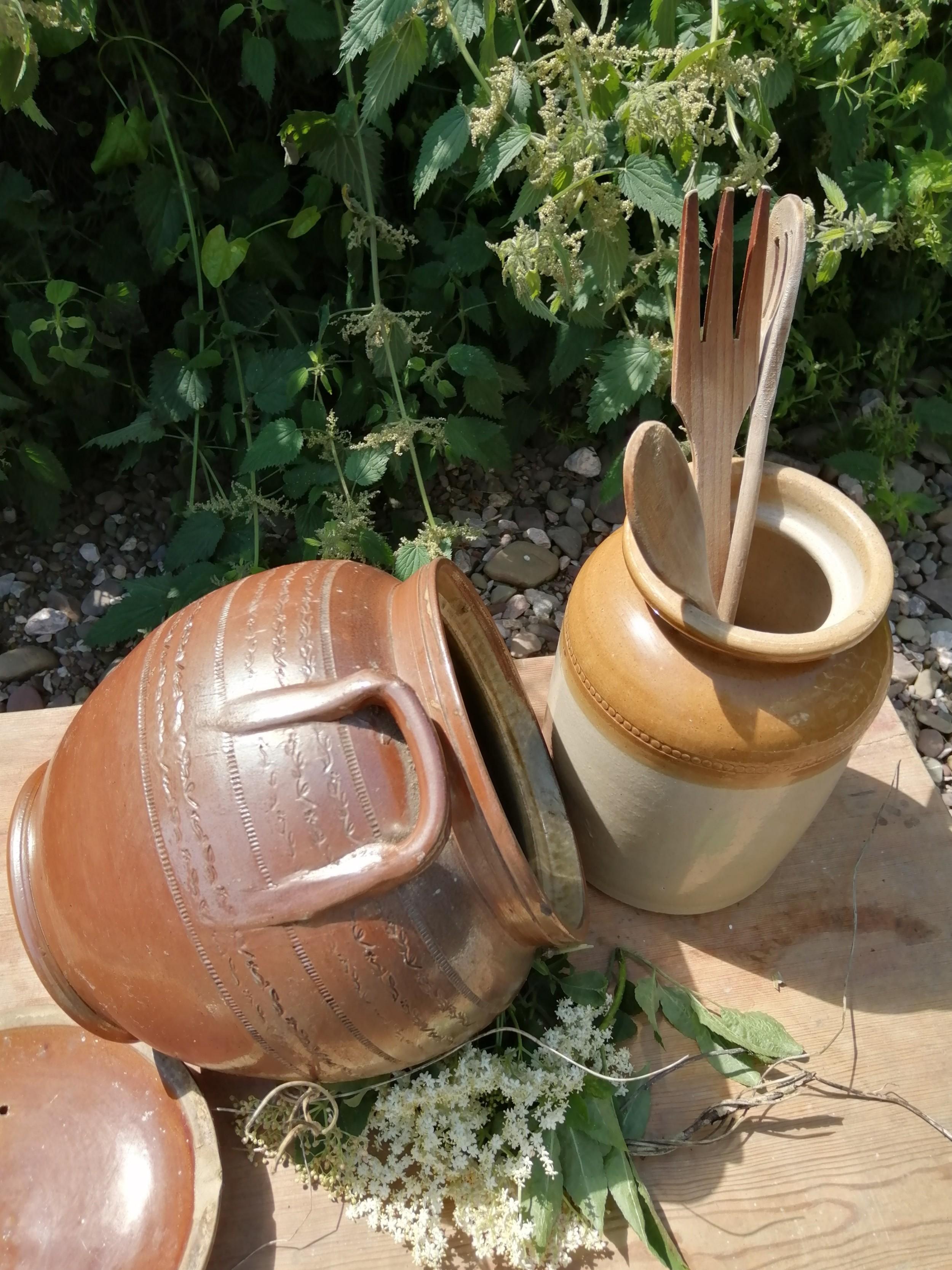 victorian salt glaze and stoneware pots x 2