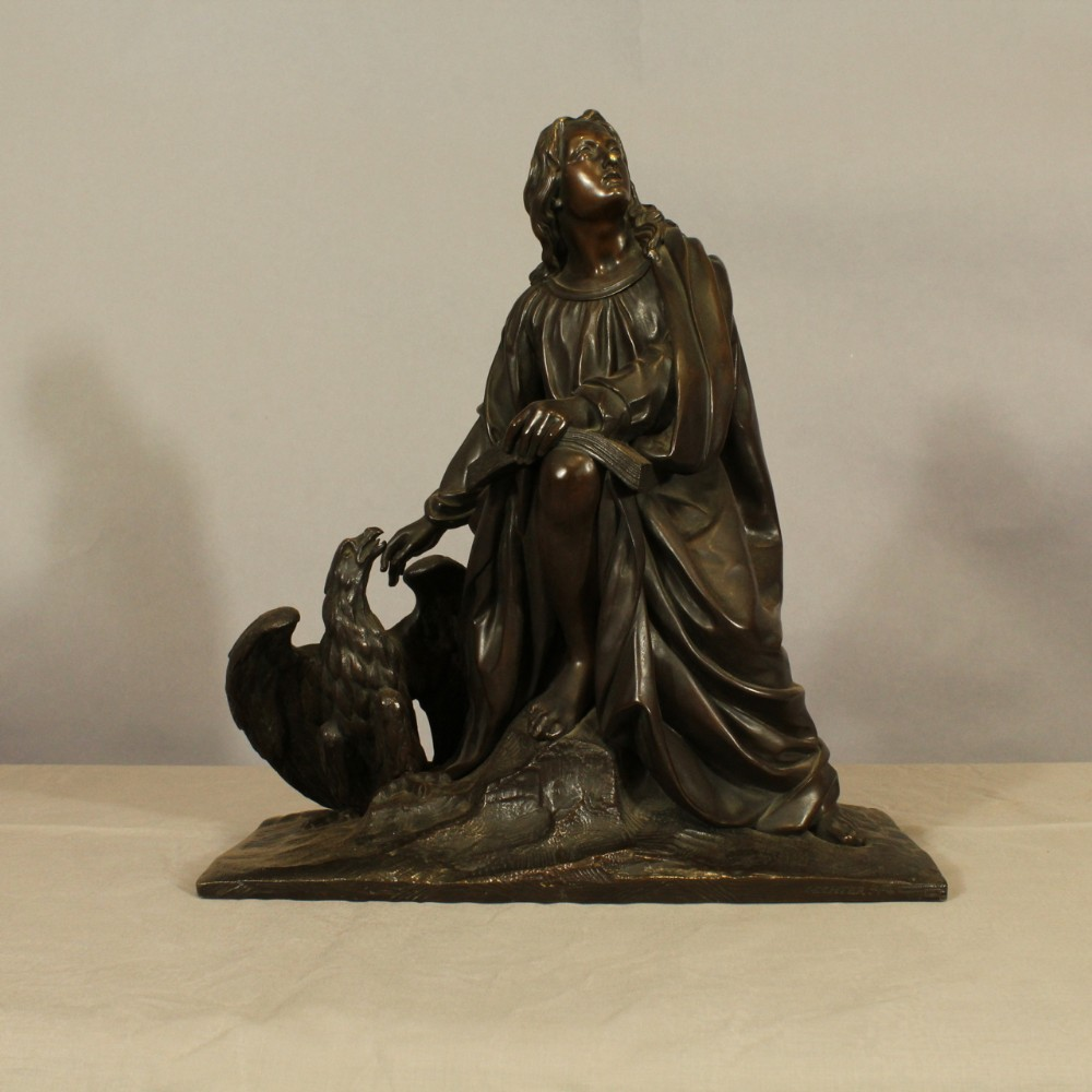 bronze figure with eagle by jean gechter
