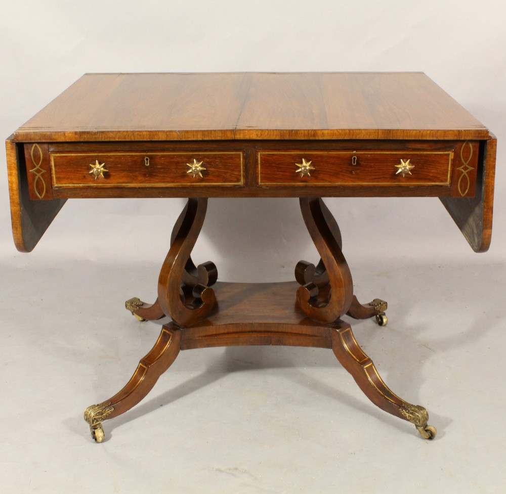 regency rosewood brass inlaid sofa table