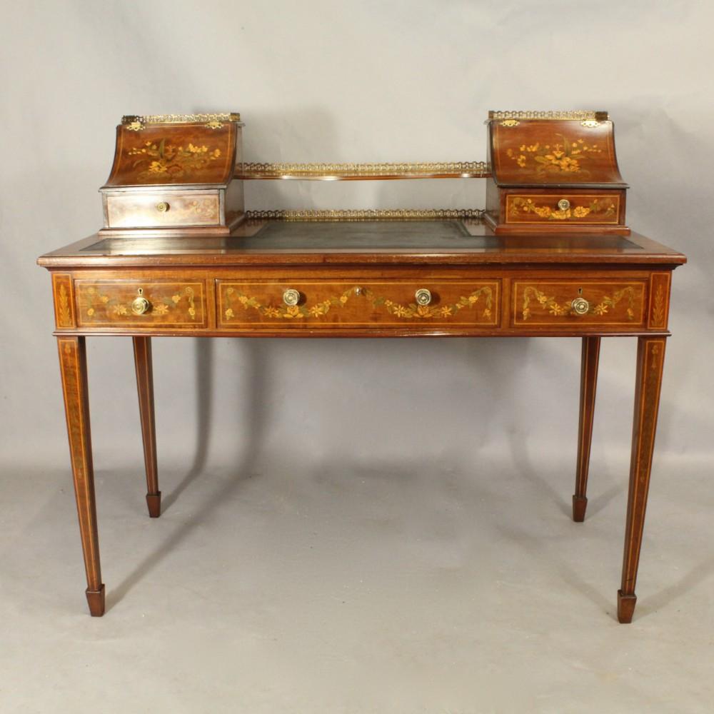 inlaid mahogany writing table