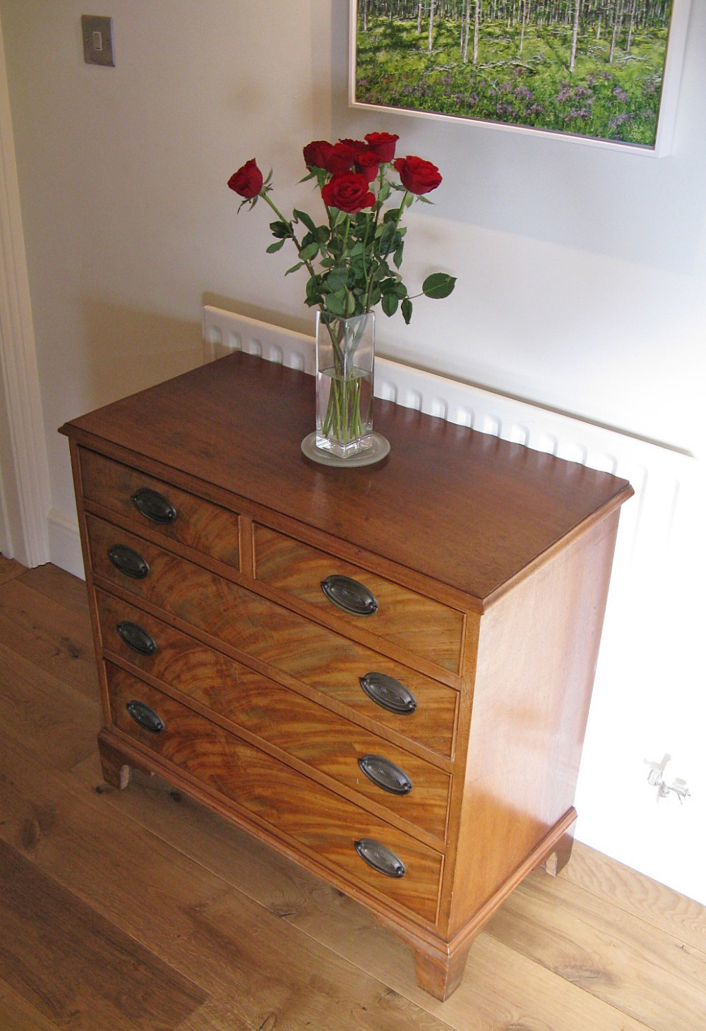 19thc later flame mahogany veneered small chest of drawers