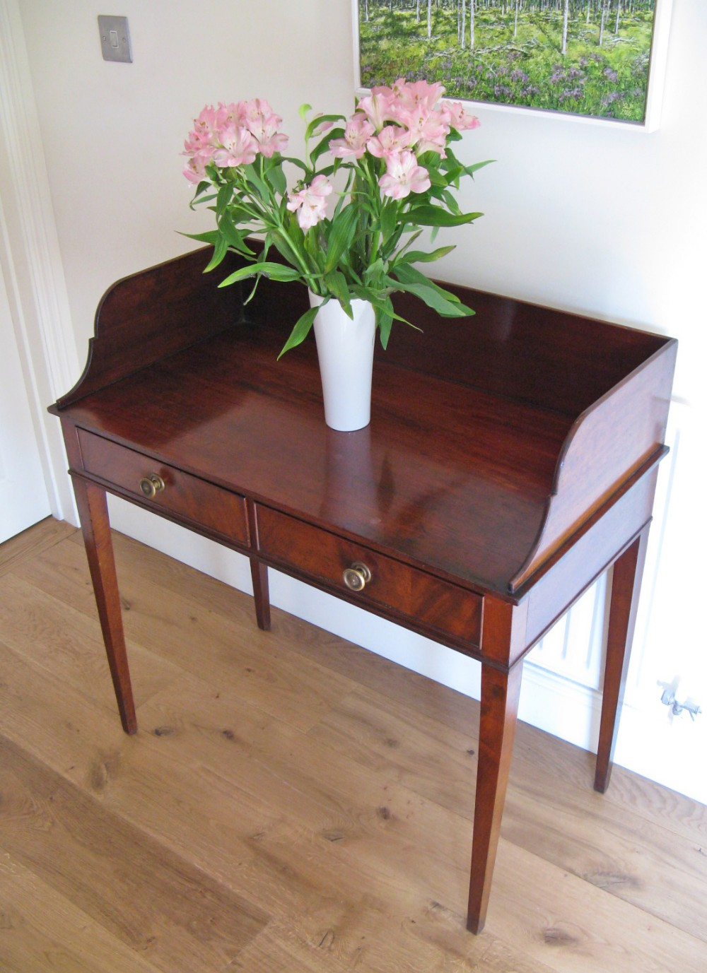 early victorian mahogany gallery back 2 drawer writing table