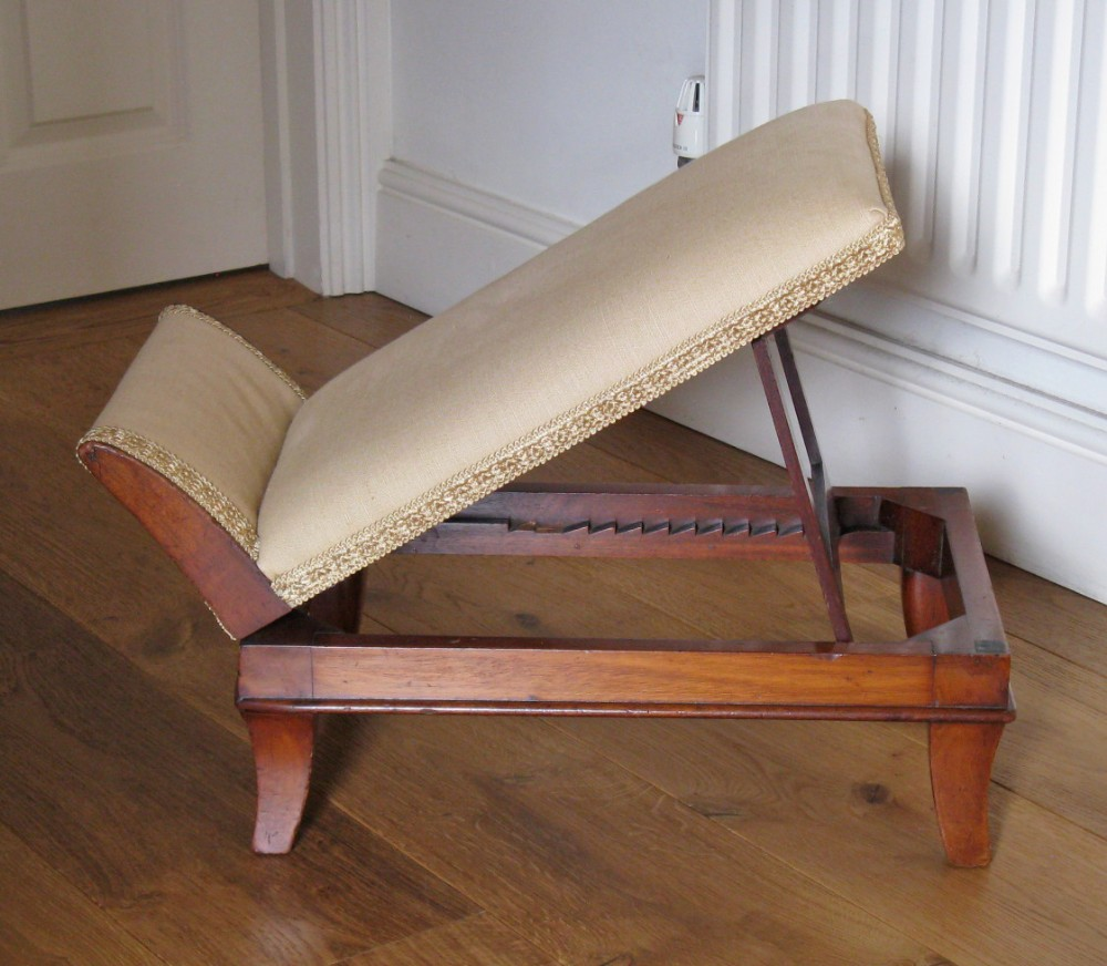 19thc mahogany upholstered adjustable gout stool on splay legs