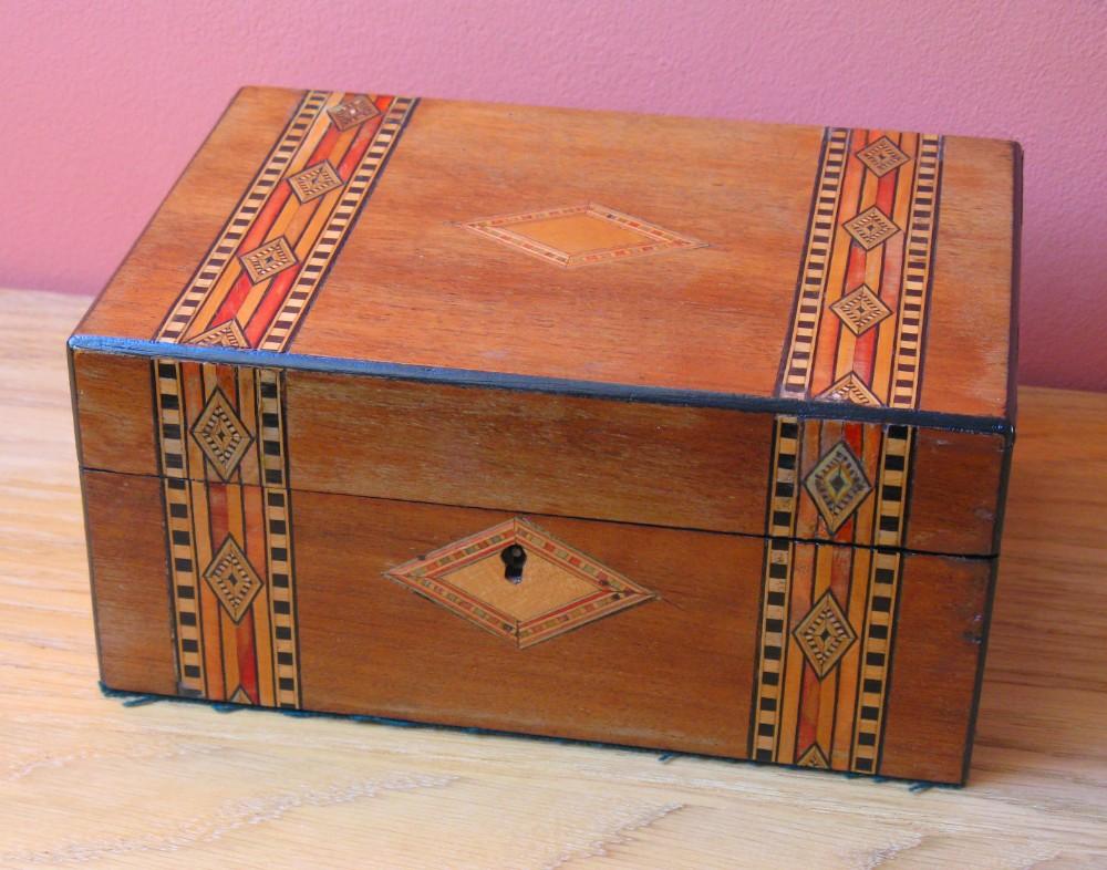victorian mahogany work box with tunbridge ware inlay