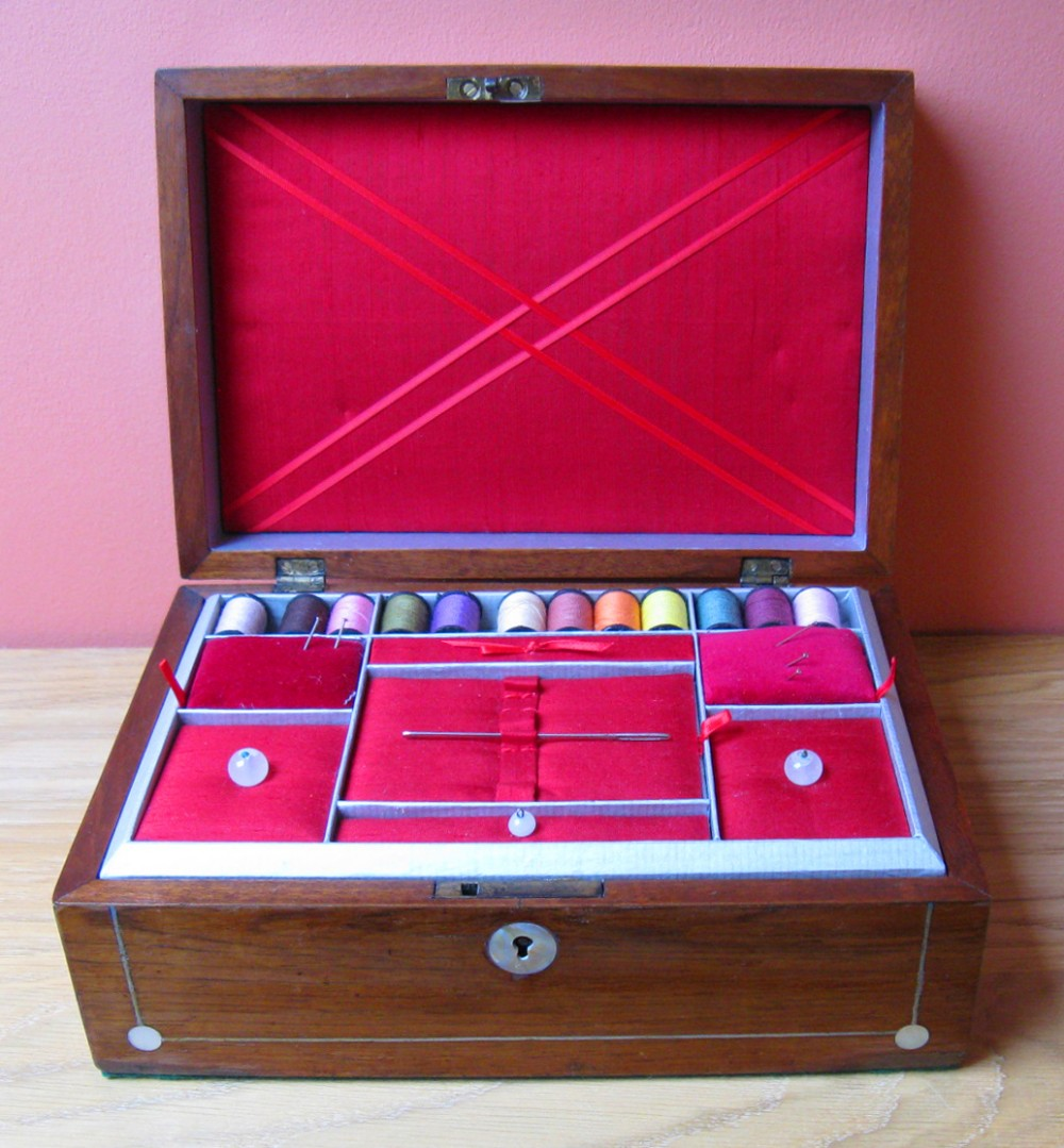 victorian rosewood work box with mother of pearl inlay