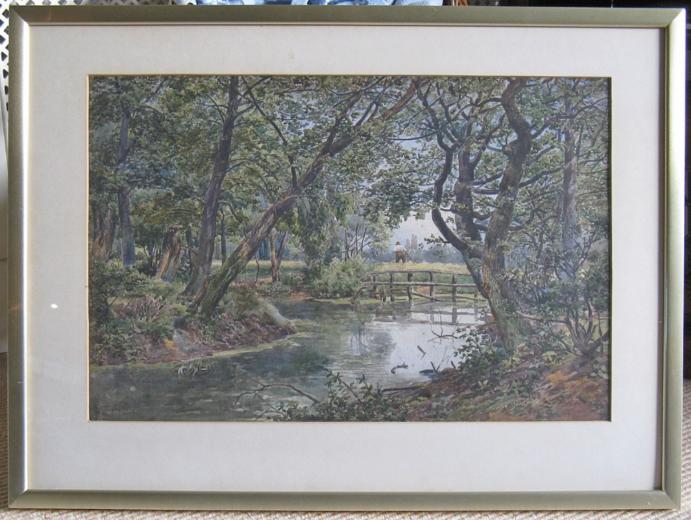 original victorian watercolour of riverscape with harvester by john macpherson