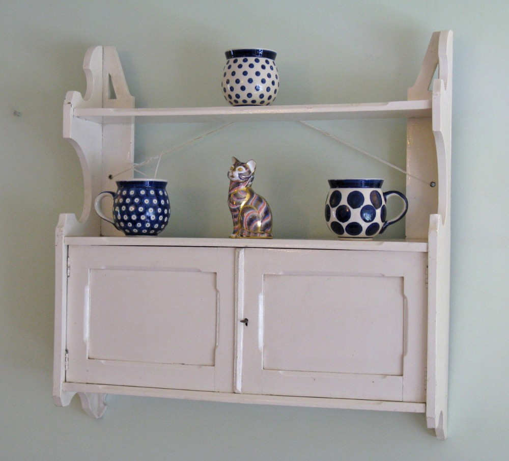 late victorian painted elm wallhung cabinet with shelf