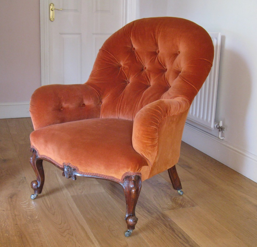 victorian walnut button upholstered lady's easy chair
