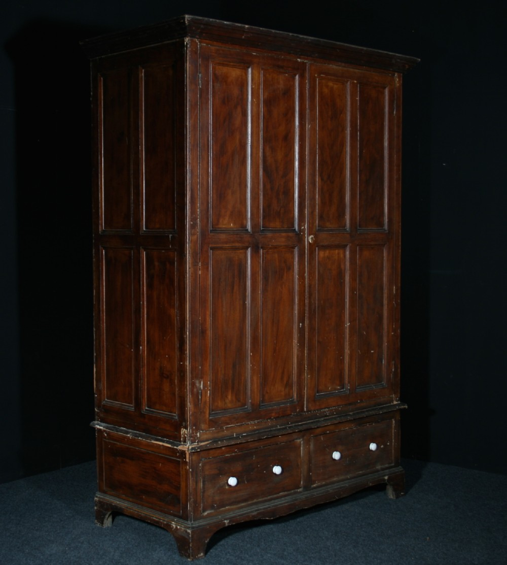 large pine livery cupboard in original paint