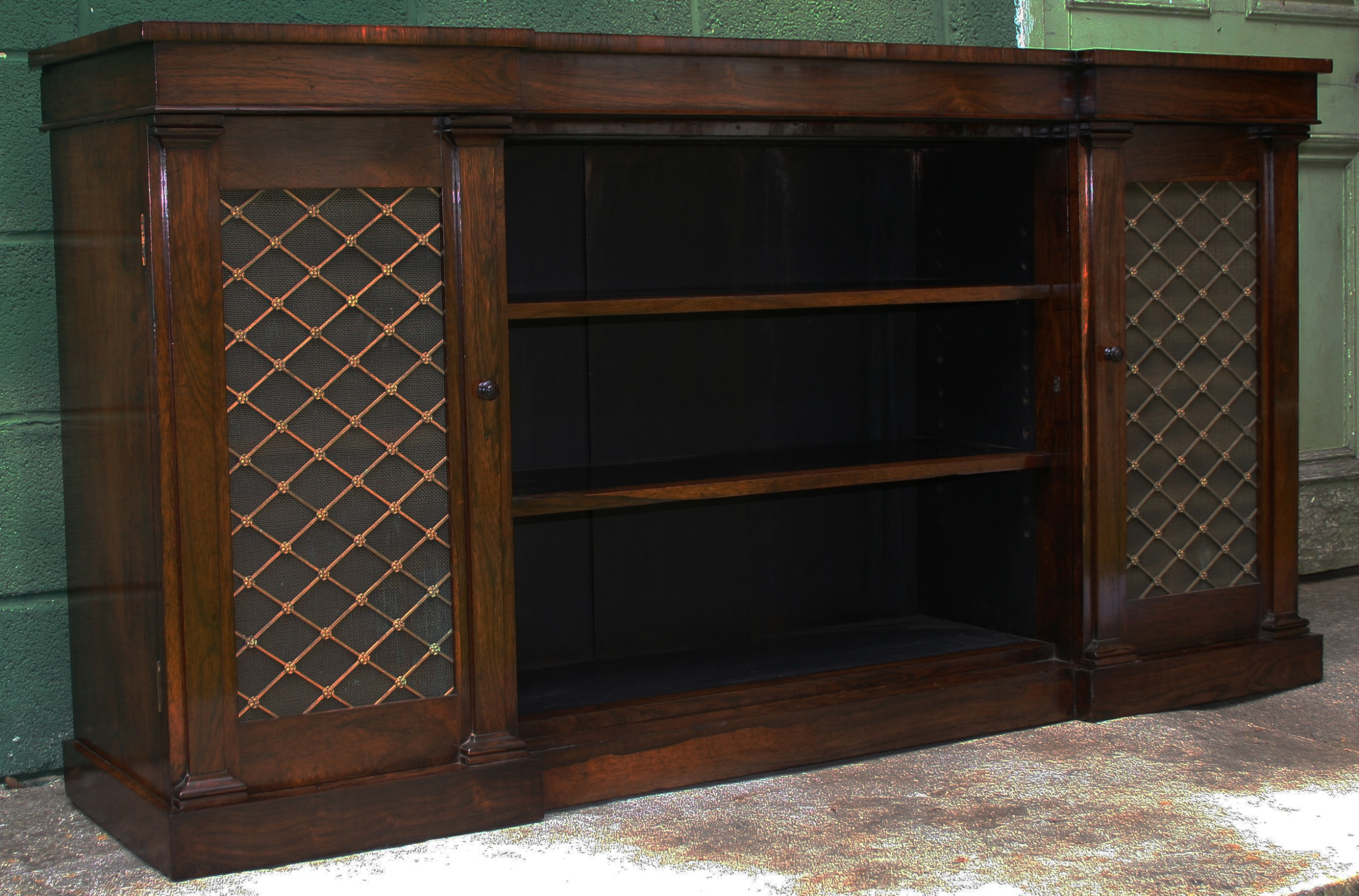 a george iv rosewood breakfront bookcasecabinet