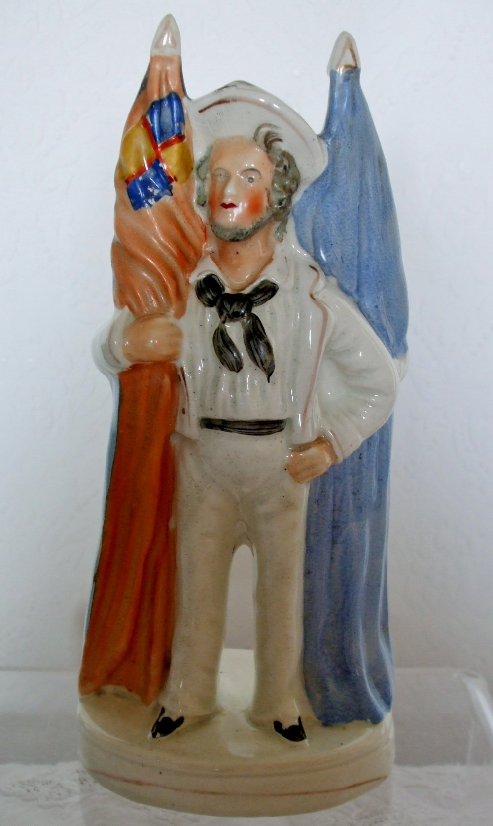 antique english victorian staffordshire reversible pottery portrait figure english sailor french soldier h a813