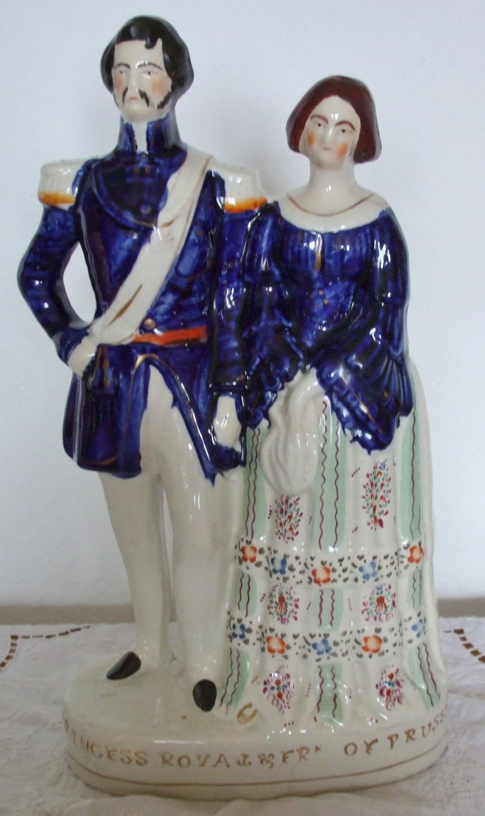 antique english victorian staffordshire pottery royal portrait figure princess royal and prince frederick william of prussia pugh fig 217 h 658