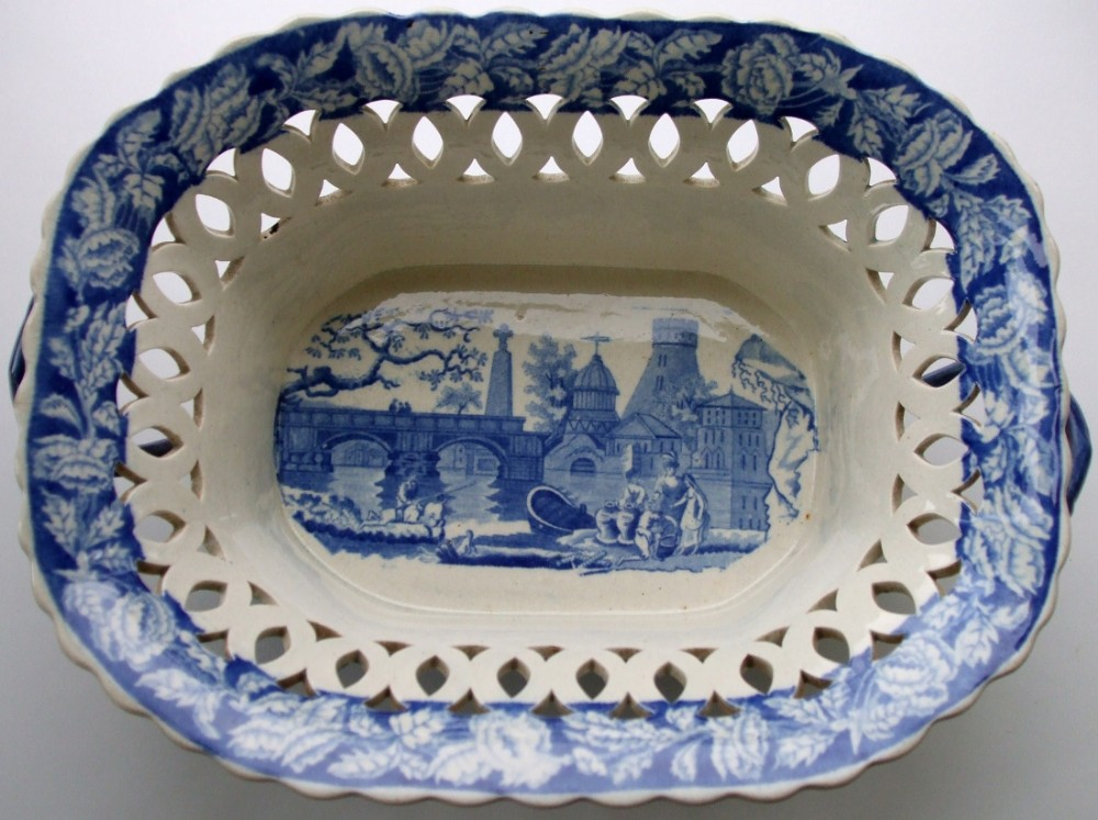 antique english georgian blue and white transfer river scene with fort pattern pottery chestnut or dessertbasket ralph and james clews