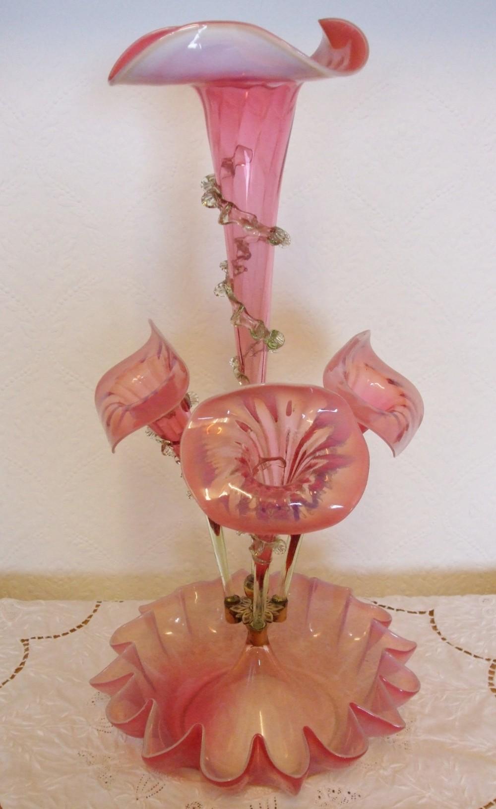 antique english victorian pink vaseline glass jackinthepulpit epergne