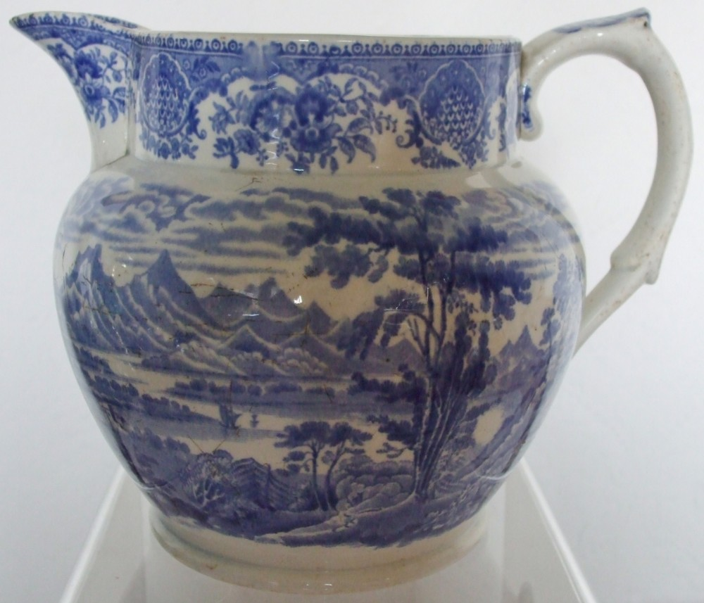 antique english victorian blue and white transfer loch creran with barcaldine castle pattern pottery jug john meir and son of tunstall