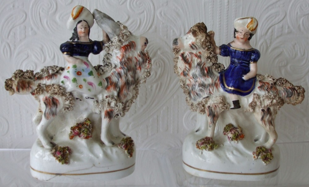 pair of antique english victorian staffordshire pottery royal portrait figures prince of wales and princess royal on goats h598 h599