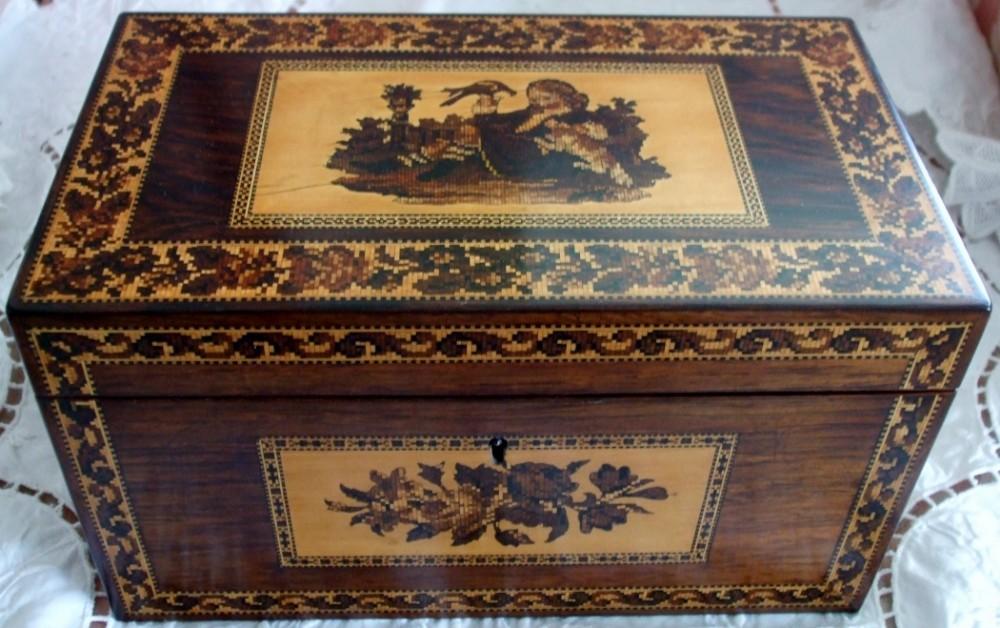 antique english victorian tunbridge ware rosewood tea caddy