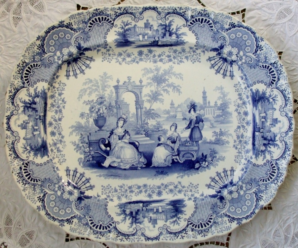 Blue and white pottery - Antique English Victorian Blue And White Transfer Spanish Beauties Pattern Pottery Dish