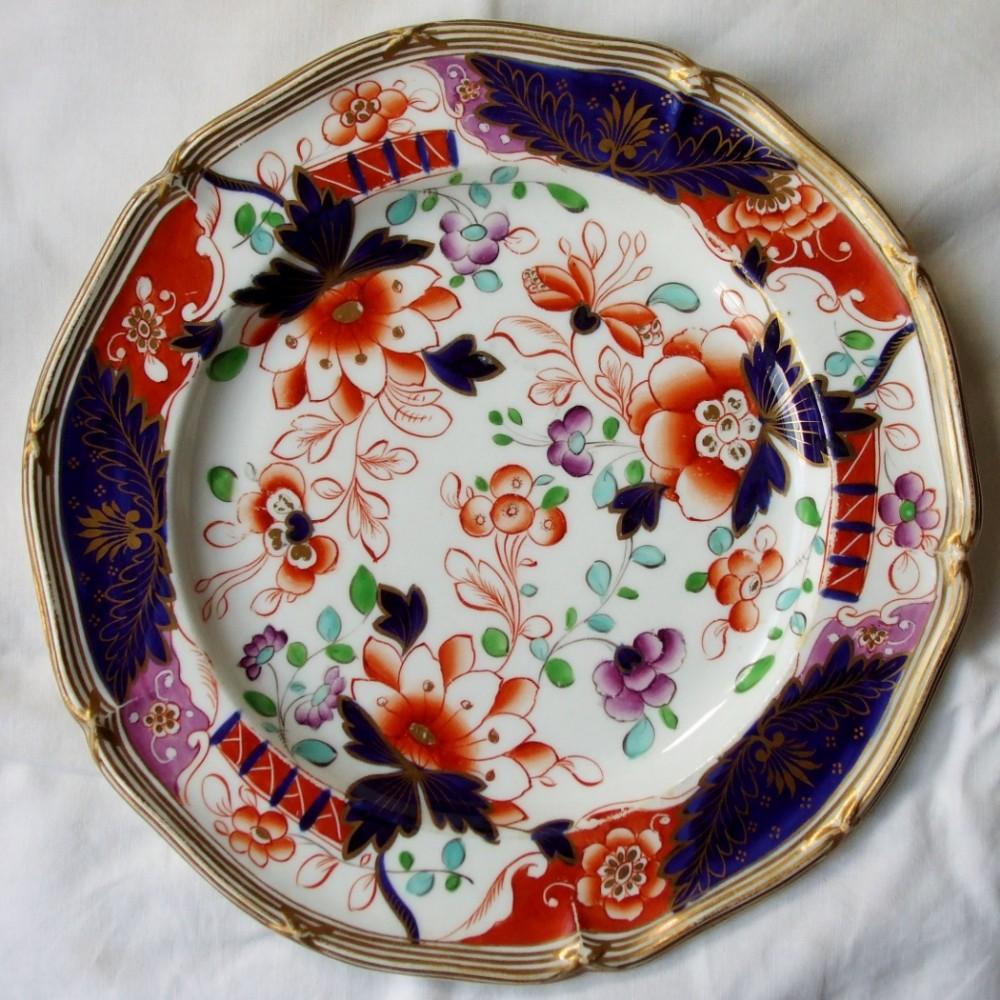 antique english georgian imari pattern ironstone cabinet plate john davenport of longport