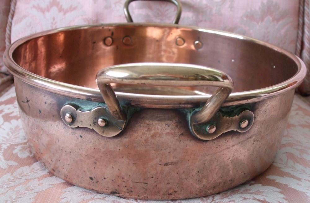 antique english victorian copper cream setting pan ws adams son