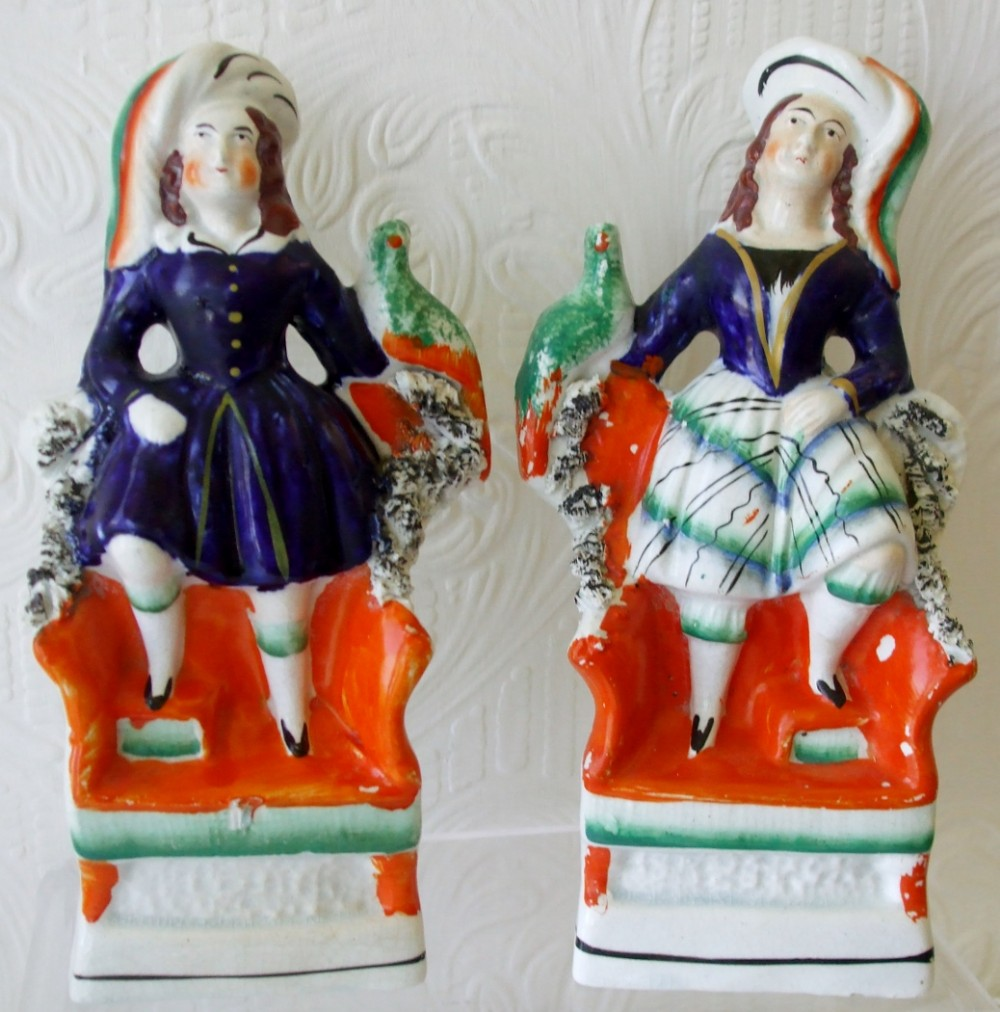 pair of antique english victorian staffordshire pottery royal portrait figures prince of wales and princess royal ha577 ha578
