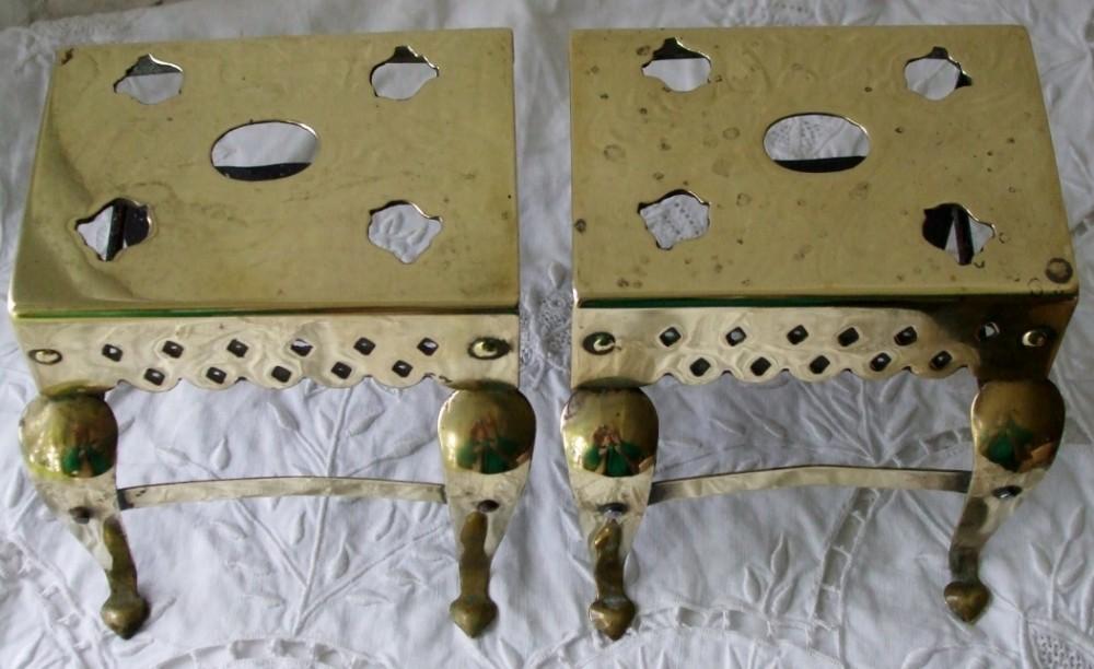pair of antique english victorian miniature brass and steel footmen