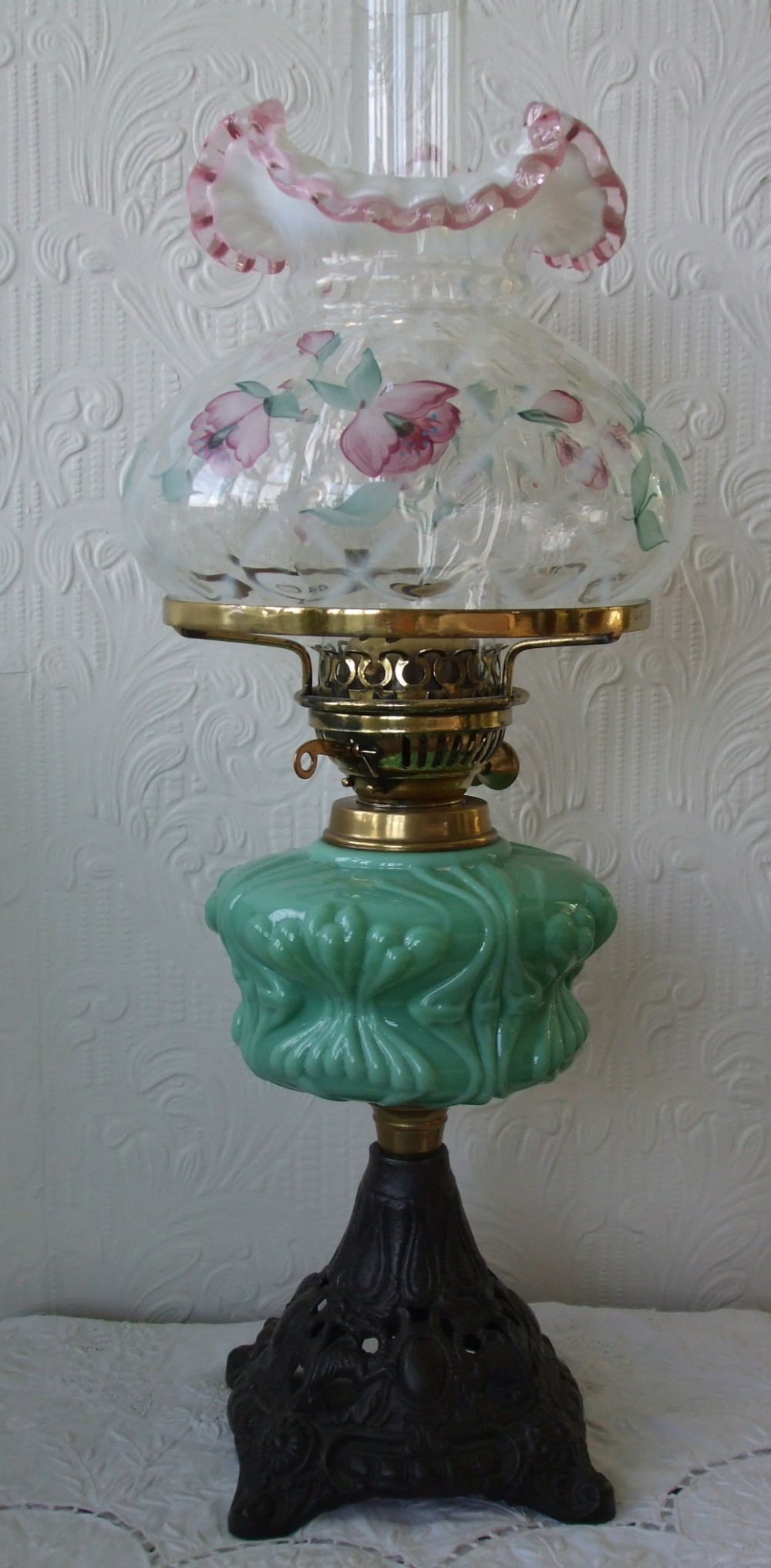 Antique English Victorian Oil Lamp With Vintage American
