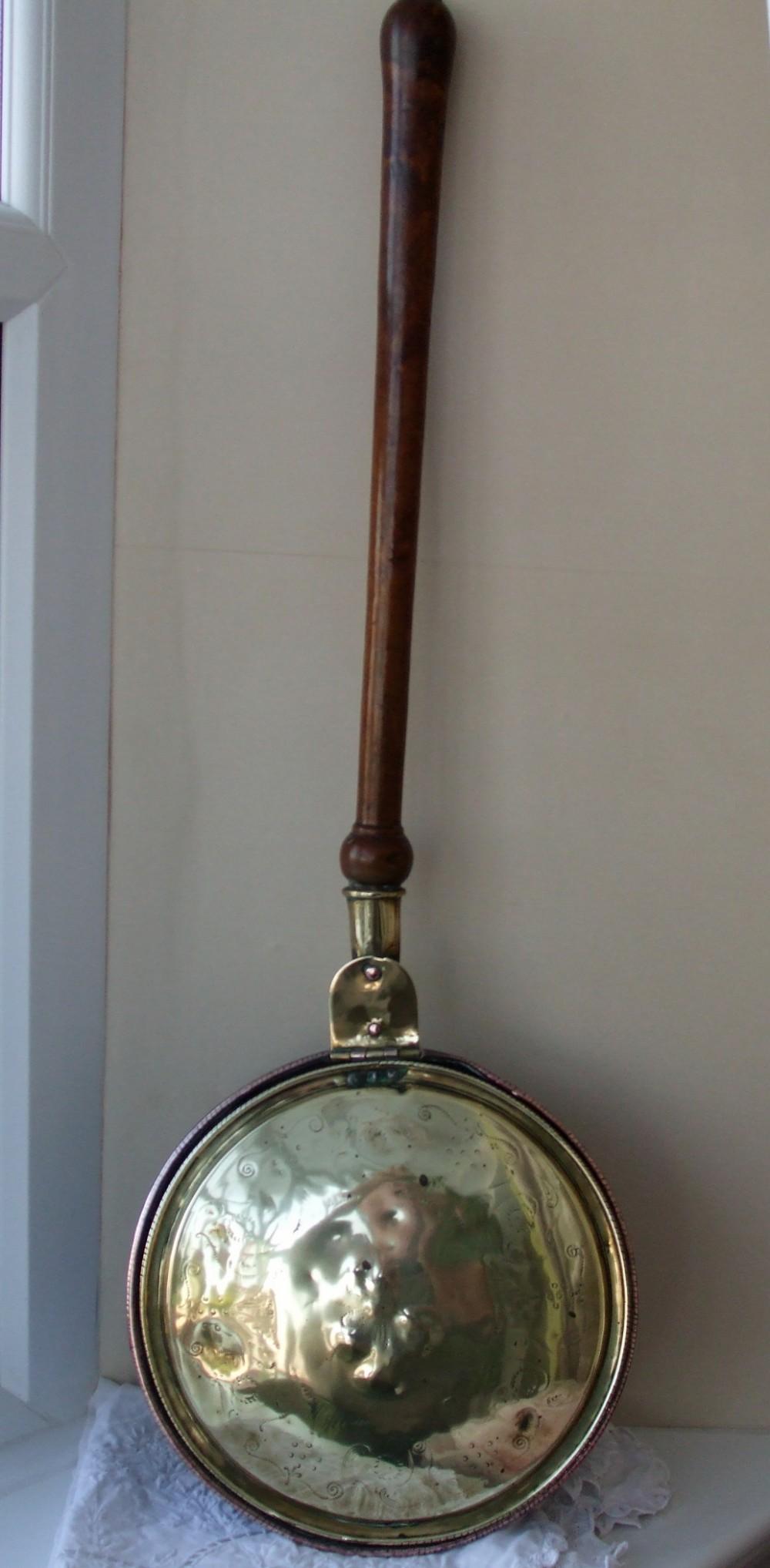 antique english georgian brass and copper warming pan